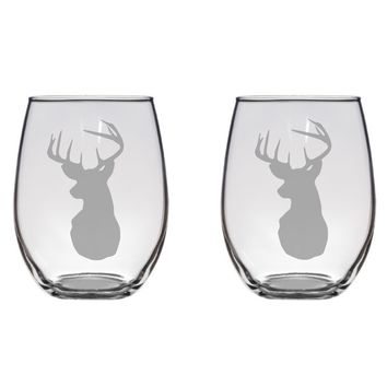 Deer Head Engraved Glasses, Hunter, Hunting, Gift Free Personalization