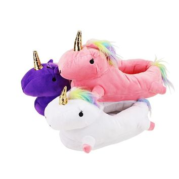 Women's Plush Unicorn Light Up Toys Slippers
