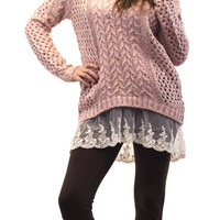 Pink Knit Sweater with Lace Trim   Posh Boutique