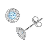 Oro Leoni Sterling Silver Blue & White Topaz Stud Earrings - Made with Genuine Swarovski Gemstones