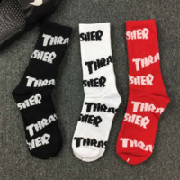 Thrasher Printed Cotton Unisex Lovers' Sports Socks