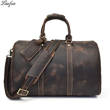 Men's Vintage Crazy horse leather travel duffel Brown genuine leather travel bag Durable  cow leather Weekend bag