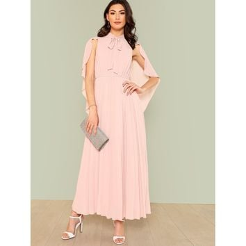Pink Pastel Sleeve Pleated Maxi Dress