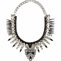 SILVER TONE SPIKE STATEMENT NECKLACE