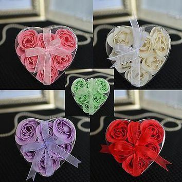 6 Multiple Colors Available Rosebud Soaps in Heart Gift Box with Ribbon