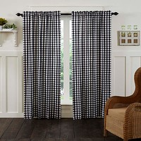 Annie Black Buffalo Check Panel Curtains