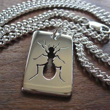 Thick Silver Ant Insect Pendant Necklace