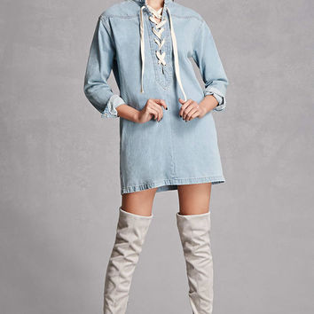 Lace-Up Denim Shirt Dress