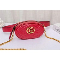 GUCCI New fashion leather chain shoulder bag waist bag women Red