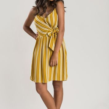 Bonnie Mustard Stripe Mini Dress