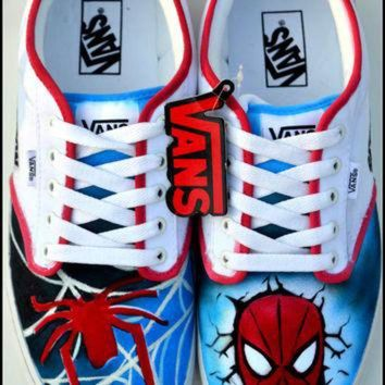 CUPUPH3 Custom Mens Shoes, Custom Spiderman Shoes, Painted Spiderman Shoes, Mens Vans, Spiderm