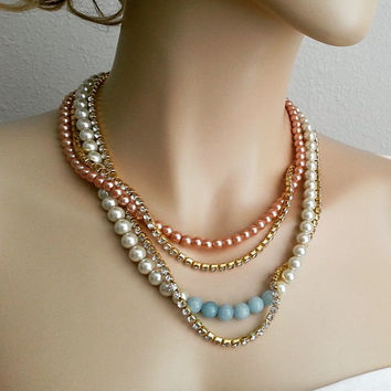 Pearl Bridal Necklace, Rhinestone Bridal Necklace, Champagne Ivory Pearl Necklace, Chunky Gold Necklace, Something Blue