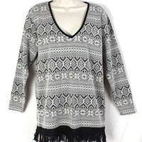 Lou Nardi NY Tunic Knit Sweater S size Top Black Gray Floral Fringed Fair Isle