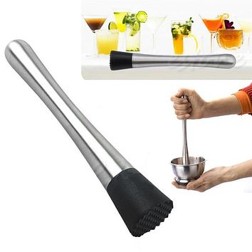 Stainless Steel Cocktail Muddler Bar Mixer Barware Drinking DIY Drink Fruit Pestles Crushed Muddler Bar Tool