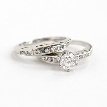 Vintage 14k White Gold 1/2 Carat Diamond Engagement Ring and Wedding Band Set - 1950s Mid-Century Size 5 Wedding Fine Bridal Jewelry Set