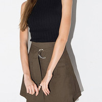 High Waist Midi Skirt with Adjustable Waistband