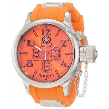 Invicta 1346 Men's Russian Diver Orange Dial Rubber Strap Chronograph Steel Watch