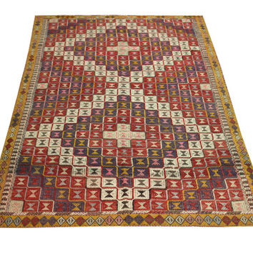 Handwoven Turkish Decorative Kilim Rug Antique rug  chevron cicim rug  oriental large size kilim rug natural dye wool striped kilim Y-411