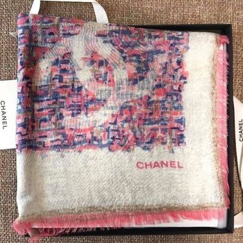 CHANEL Paris Scarf Scarves Stole Shawl Cashmere Silk Women Luxury Auth rare NWT