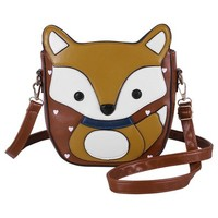 Ecosusi Women Cute Fox Design Soft Pu Leather Crossbody Bag Hobo Shoulder Bag Satchel (Light brown & Yellow)