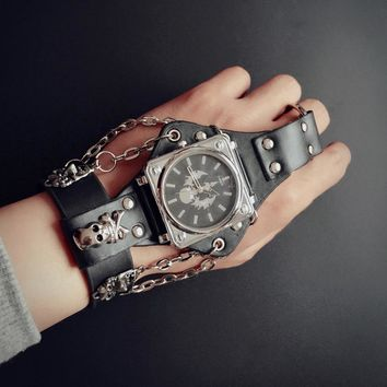 Punk Skull Black Leather Wrist Arm Piece watches with 50mm Wide Band