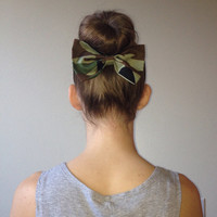 Camouflage Fabric Hair Bow