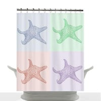 Coastal Decor Shower Curtain - Pastel Sea Stars , unique, pink, blue, green, purple, chic, decor, home