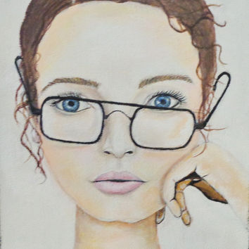 Girl Portrait Woman's Face Art Print of Girl with Glasses. Brown Hair, Blue Eyes, 9X12 inches.