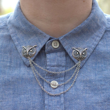 Silver Owl Head Collar Clip Collar Chain