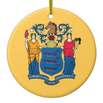Ornament with flag of New Jersey