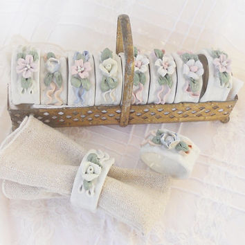 Floral Porcelain Napkin Rings - Set of 11 - Vintage, Wedding, French Decor, Linens, Napkins, Farmhouse, Entertaining, Shabby Chic, Romantic