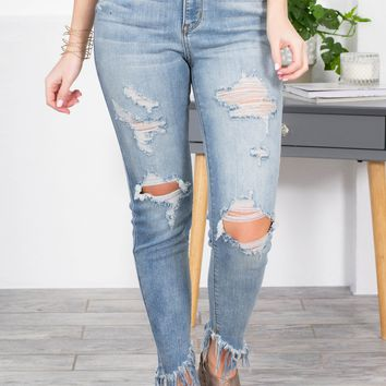 Medium Wash Fringe Distressed Jeans
