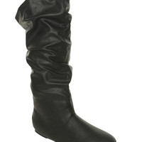 Faux Leather Slouch Boot - WetSeal