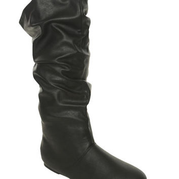 Vegan Leather Slouch Boot - WetSeal
