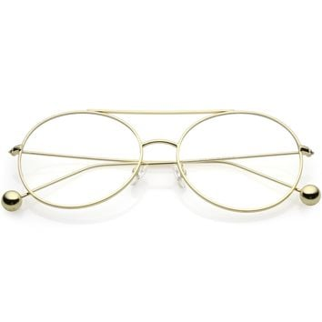 Premium Oversize Round Eyeglasses Metal Double Nose Bridge Clear Flat Lens 59mm