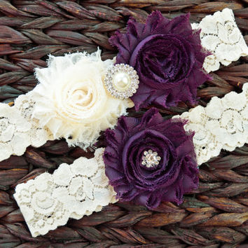 ON SALE Rustic Garter Set, Ivory Wedding Garter Set, Rustic Wedding, Lace Bridal Garter, Rustic Wedding Garter Set-Style 115