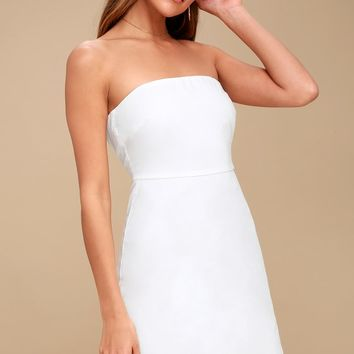Sunny Sweetheart White Lace Strapless Dress