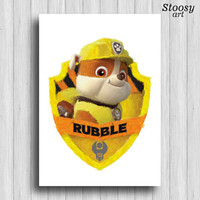 paw patrol Rubble poster cartoon dog watercolor