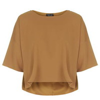 Cropped Round Neck Tee - Tan