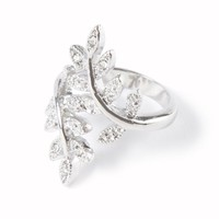 Rhinestone and Beaded Metal Leaves and Vine Wrap Around Ring  | Icing