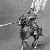 Soldier Figurine - Japanese Medieval 1/32 Scale Horseman Samurai with Yari 54mm, Tin Metal Miniature Action Figurine