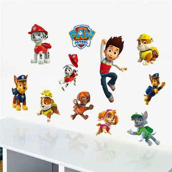 Cartoon Movie Clever Police Dog Wall Stickers For Kids Room Children Wall Decals Home Decoration Mural Art Boy's Gift