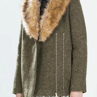 Army Green Lapel Zippered Coat With Fur Collar