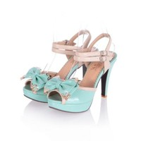 Charm Foot Fashion Bows Womens Platform High Heel Peep Toe Sandals (4.5, Blue)