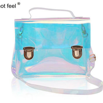 Hot Feel fashion hologram transparent handbag famous brand women messenger bag laser holographic bags crossbody bag