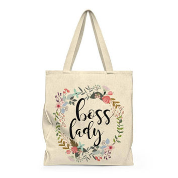 Tote bag, Canvas grocery bag, printed tote bag, Carry all bag, roomy shoulder bag floral tote, gift for her - Boss Lady
