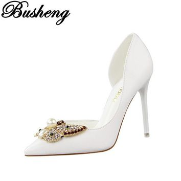 Pumps Woman Rhinestone Wedding Shoes Pointed Toe Women Shoes High Heel Spring Autumn Women Party Thin Heels Shoes escarpins