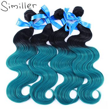 """Similler 100g 4 pcs/lot Body Wave Synthetic Hair Weft Weaving Ombre Color High Temperature Fiber 16"""" 18"""" 20"""" 22"""" 24"""""""