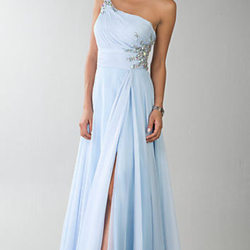 One Shoulder Prom Gown by Dave and Johnny