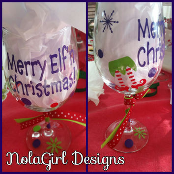 Merry Elf'n Christmas, Wine Glass, Merry Christmas Wine glass, Christmas party Favor, vinyl decorated wine glass, Vinyl, Elf, Wine, Glass